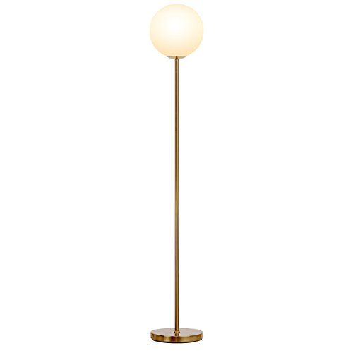 Brightech Luna LED Globe Floor Lamp– Contemporary Modern Frosted Glass Globe Lamp- Tall Pole Standing Uplight Lamp for Living Room, Den Office or Bedroom- Energy Efficient Bulb Included- Antique Brass 21CL0e9GPLL