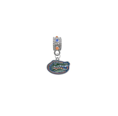 Florida Gators Orange & Blue Rhinestone/Gem Charm with Connector - Universal European Slide On Charm - Classic & Original Style Perfect for Bracelets, Necklaces, DIY Jewelry
