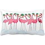 Himoud Tropical Christmas Flamingo Elves and Santa Lumbar Pillowcase Pillow Covers 20X30 inches