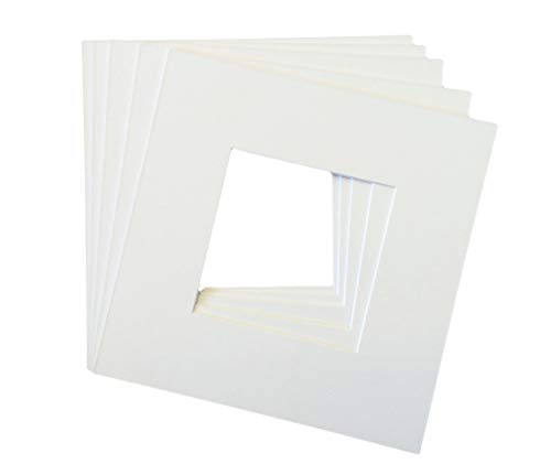 Pack of 5 12x12 Square White Picture Mats with White Core Bevel Cut for 8x8 Pictures