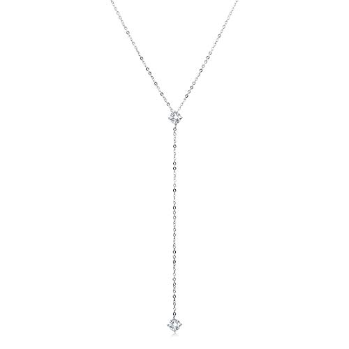 Cat Eye Jewels 925 Sterling Silver Y Necklace Long Drop cz Pendant Uma Back Necklace Cubic Zirconia Diamond Choker Chain Valentine's Day Anniversary Birthday Jewelry Gifts Box for Women Girls N003