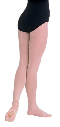 Body Wrappers C45 TotalSTRETCH Girls' Mesh Backseam Convertible Tights (8-10, Theatrical Pink)