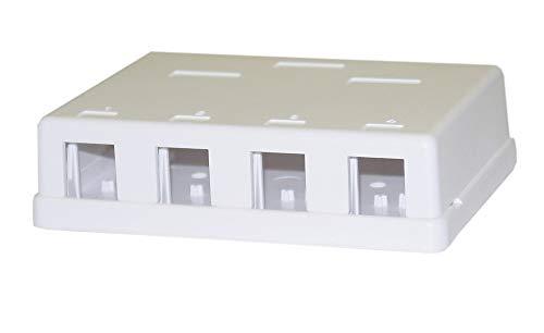Keystone Surface Box - Blank Surface Mount Box for Keystones, 4 Hole, White CNE43705