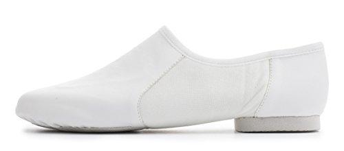 White PU Pull On Rubber Split Sole Jazz Practice Jive Cerco Modern Dance Shoes By Katz Dancewear All Sizes 3IBrT04