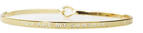 Story Collection Women's -You are My Sunshine- 3mm Message Silver Plated Brass Bangle Bracelets (Gold w/White)