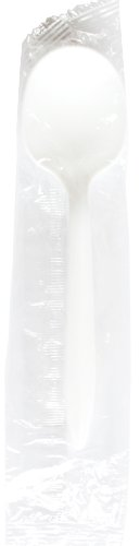 Daxwell Medium Weight Polypropylene Soup Spoon, Individually Wrapped, White (Case of 1,000) Packaged Weight