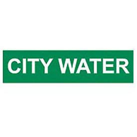 Pipe Marker - Pressure-Sensitive - City Water, Pack Of 25, Green, For Pipe Over 2-1/4'',9''W