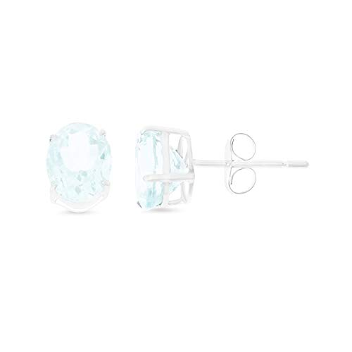 2.21CTW 14K White Gold Genuine Natural Aquamarine Oval Shaped 6 x 8 mm. Solitaire Stud Earrings