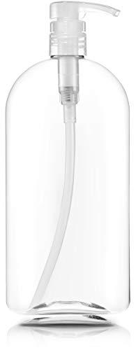 Empty Shampoo Bottles with Pumps, 32oz/1Liter/Large, BPA-FREE, Lightweight(Medium Density PETE1 Plastic) Pack of 3