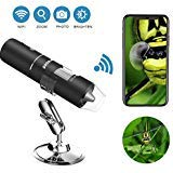 Wifi Digital Microscope, Goodan Wireless Microscope, Portable 50 to 1000X Black Updated Magnification Endoscope with Mini 8 Led Inspection Camera for Iphone IOS and Android Smartphone, Ipad (Wifi Portable Microscope)