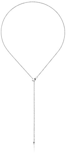 14k White Gold Adjustable Heart Lariat Sparkle Chain Y-Shaped Necklace, 22