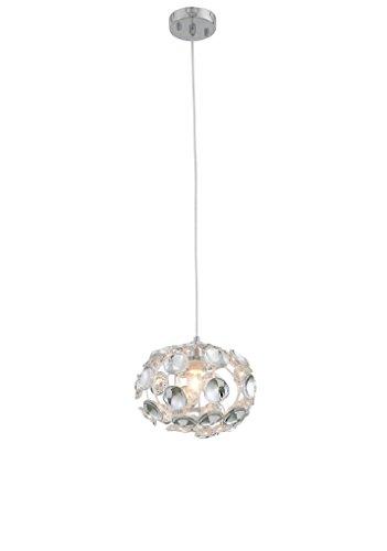 9.8 Acrylic Ceiling Pendant Light,Chrome Finishing,1-Light Mini Chandelier,Circular Sphere Shaped