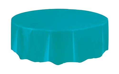 Round Teal Plastic Tablecloth, 84