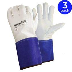 Stauffer Goatskin MIG/TIG Welders Gloves with Kevlar Liner, Gauntlet Cuff, A2 | Blue/White Color, Select Grade, Grain Leather Cut - Medium (Pack of 3)