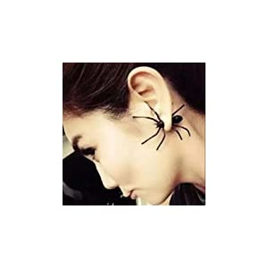 EDOBLUE 1 Pair Hot Fashion Womens Halloween Black Spider Charm Ear Stud Earrings Jewelry