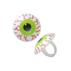 Oasis Supply  24 Halloween Cupcake Cake Toppers plus Bonus Free Halloween Tattoos Scary EyeBall Rings