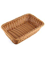 Bread Basket, Yamix Rectangle Imitation Rattan Bread Basket ,Food Serving Baskets,Restaurant Serving/Diplay Baskets For Fruit Food Vegetables - Dark ()
