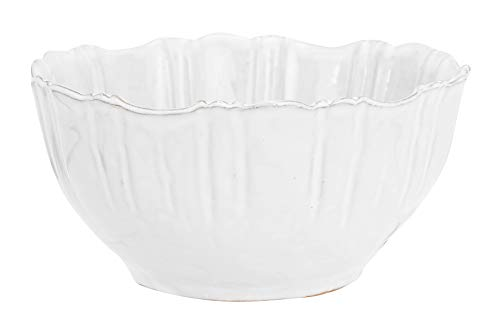 - Creative Co-Op DA8647 White Fluted Terracotta Bowl