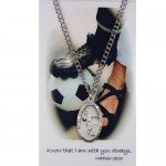 "Catholic Necklace with St. Christopher Pewter Boys or Mens Soccer Medal with 24"" Chain."