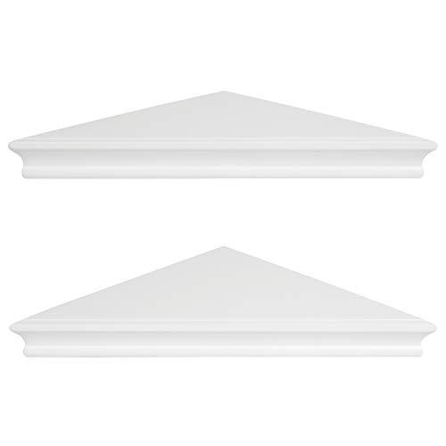 Americanflat Set of 2 - Corner Wall Shelves - 11 Inch Display - White