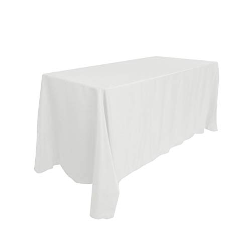 Surmente 90 x 132-Inch Rectangular Polyester Tablecloth for Weddings, Banquets, or Restaurants (White) -