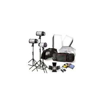 Strobe Studio Flash Light Kit 900W - Photographic Lighting - Strobes, Barn Doors, Light Stands, Triggers, Umbrellas, Soft Box