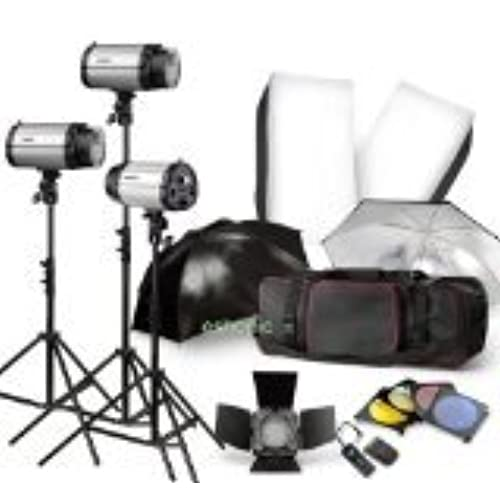 Strobe Studio Flash Light Kit 900W   Photographic Lighting   Strobes, Barn  Doors, Light Stands, Triggers, Umbrellas, Soft Box