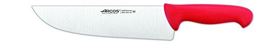 Arcos 10-Inch 250 mm 2900 Range Wide Blade Butcher Knife, Red