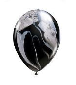 Black Marble Agate Qualatex Balloons 11-Inch 25 Per Pack]()