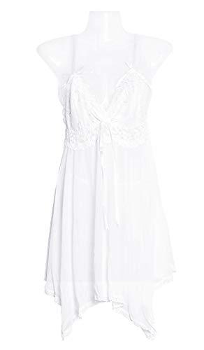 Donna A e Traspiranti Balze Elegante Nylon V Camicie Deaman Notte Rete Da Kimono Di Bianco Collo Fasciante Vestaglie dnwq0zxBU0