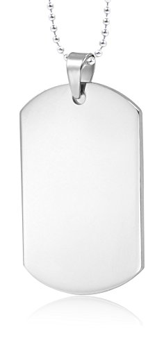 "Mealguet Jewelry MG Customize Personalized Stainless Steel High Polished Plain Dogtag Pendant Necklace for People with 24"" Chain"