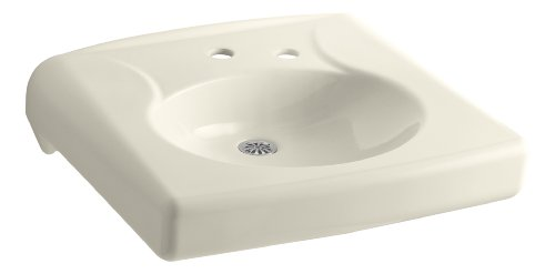 KOHLER K-1997-1NR-47 Brenham Wall-Mount Bathroom Sink with Single-Hole Faucet Drilling and Soap Dispenser Hole on The Right and No Overflow, Almond