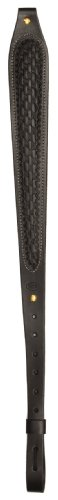 (Hunter Company Black Leather Basket Weave Padded Cobra Rifle Sling)