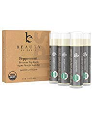 Lip Balm - Organic Pack of 4 Tubes Peppermint Moisturizer to Repair for Dry, Chapped and Cracked Lips With Best Natural Ingredients and Minty Tingle - Great Gifts for Christmas and Stocking Stuffers