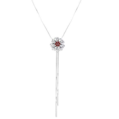 Orchid Jewelry 1.15 Ct Red Round Garnet and Blue Sapphire 925 Sterling Silver Pendant for Women: Nickel Free Cute and Simple for Wife