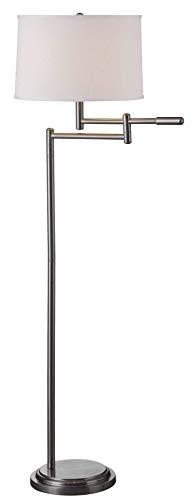 Theta Floor Lamp, Swing Arm, Brushed Steel Finish ()