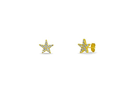 FRONAY 14K Gold Plated Silver Mini Star, Moon, Hamsa, Square, Butterfly, Bar, Snowflake Stud Earrings CZ Simulated Diamond (Golden Lone Star) from Fronay Collection