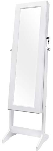 - Greenco Free Standing Jewelry Organizer Armoire with Large Mirror and Led Lights, Lockable, White