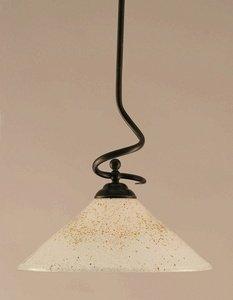 Capri Nickel Table Lamp - Stem Pendant in Dark Granite Finish with 16 in. Gold Ice Glass