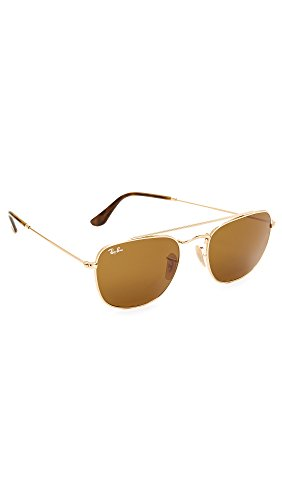 Ray-Ban Men's Rounded Caravan Sunglasses, Shiny Gold/Brown, One - Ray Caravans Ban