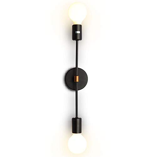 EFINEHOME 2-Light Wall Sconce - Minimalist Matte Black Vanity Lighting - 2 Bulb Modern Mid Century Industrial Wall Light Decor (Sconce Bathroom Wall)