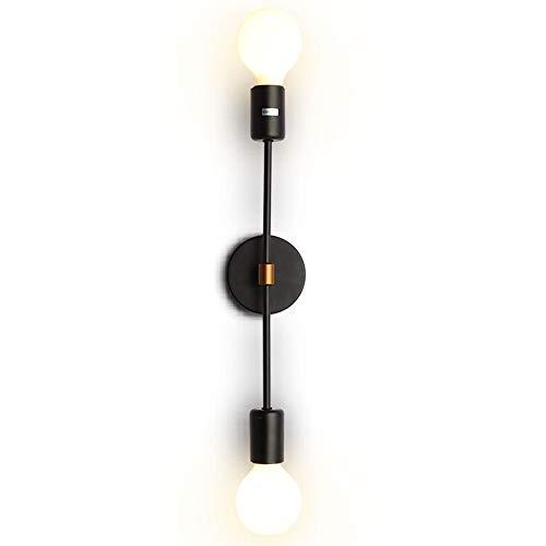 2 Bulb Wall - EFINEHOME 2-Light Wall Sconce - Minimalist Matte Black Vanity Lighting - 2 Bulb Modern Mid Century Industrial Wall Light Decor