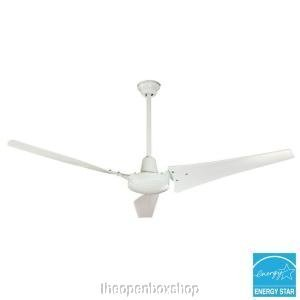 Hampton Bay Ceiling Fan, 60 In. White Industrial Fan With Energy Star Rating 92856, Wall Switch, Patented High Efficiency Blades