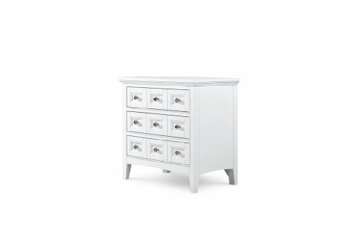 Kentwood Wood - MagnussenB1475 Kentwood Painted White Finish with Brushed Nickel Hardware Wood Nightstand