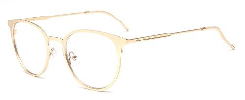 ALWAYSUV Vintage Metal Frame Aviator Clear Lens Glasses Optical Prescription Glasses Frame