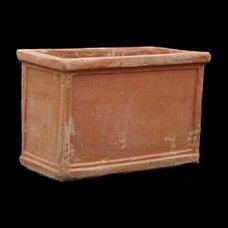 Kretische, rechteckig, tief handgefertigte Terracotta Plantar–glastra doulapa–37x 30x 57cm