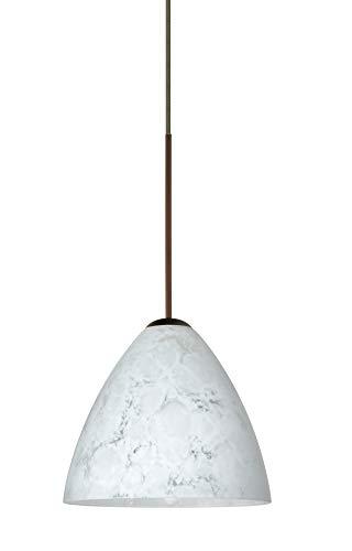 Besa Lighting 1XT-177919-LED-BR 1X6W Led Lightsource Mia Pendant with Carrera Glass, Bronze Finish