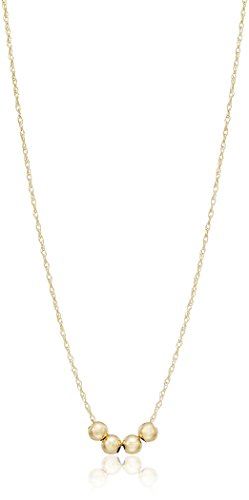 10K Gold Necklace with 3 Spacer Beads, 18