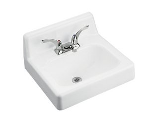 - KOHLER K-2812-0 Hudson Wall-Mount Bathroom Sink with Single-Hole Faucet Drilling and Lugs for Chair Carrier, White
