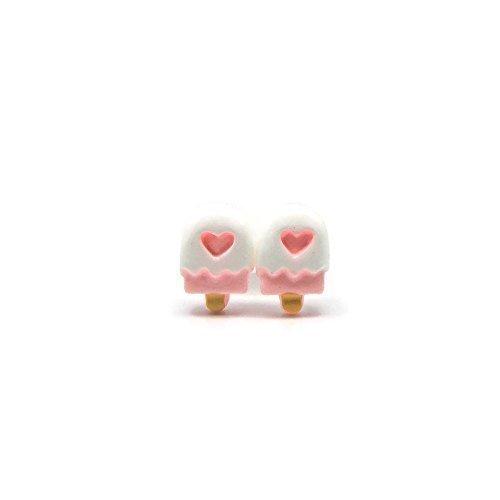 Pink Popsicle Studs on Plastic Post Earrings for Metal Sensitive Ears